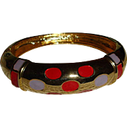 Gold Tone Enameled Bangle Bracelet - Vintage Bangle Bracelet