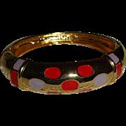 Gold Tone Enameled Bangle Bracelet - Vintage Bangle Bracelet