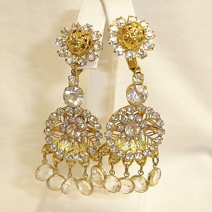 KJL Vintage Rhinestone Jewelry - Vintage RARE Rhinestone Crystal Glass Chandelier Earrings – Kenneth Jay Lane Shoulder Duster Earrings -