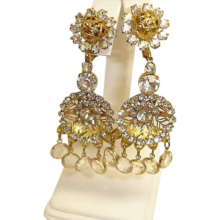 KJL Vintage RARE Rhinestone Crystal Chandelier Earrings – Kenneth Jay Lane Shoulder Duster Earrings