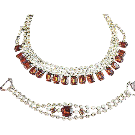 Vintage Rhinestone Demi Parure Jewelry - Necklace and Bracelet Set