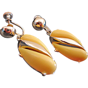 Vintage Yellow Thermoset Earrings - Dangle Drop Earrings
