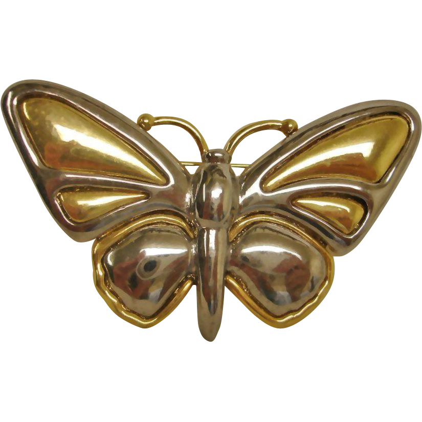 Silver and Gold Tones Butterfly Brooch by Liz Claiborne - Vintage Liz Claiborne Jewelry