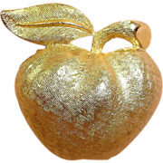 Gold Plated CORO Apple Pin - Vintage CORO Jewelry