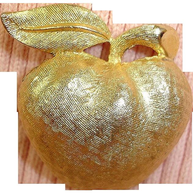 Gold Plated CORO Apple Pin - Vintage CORO Jewelry