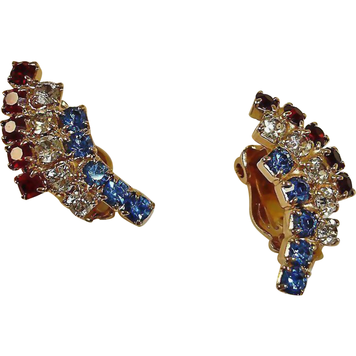 Red White and Blue Rhinestone Earrings - Patriotic Colors - Vintage Clip On Rhinestone Earrings