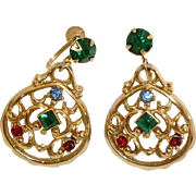 Vintage DAFRI Rhinestone Earrings - Dangle Rhinestone Drop Earrings