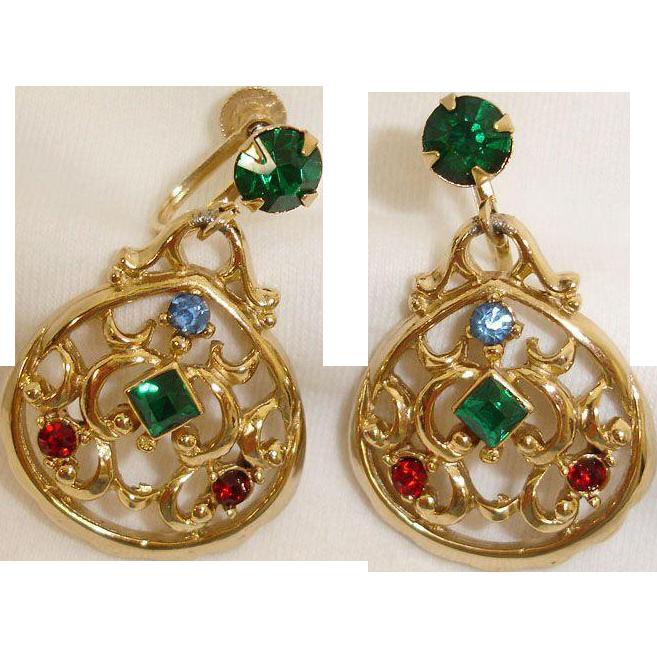 Vintage DAFRI Rhinestone Earrings - Dangle Rhinestone Drop Earrings