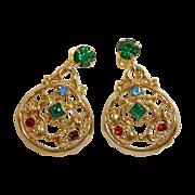 Vintage Dangle Rhinestone Drop Earrings - Vintage DAFRI Rhinestone Jewelry