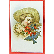 Vintage UNUSED and Embossed Greeting Postcard - Child in an Old Straw Hat & Blue Bird