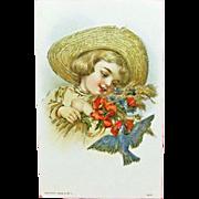 Vintage UNUSED Embossed Greeting Postcard - Child in an Old Straw Hat & Blue Bird