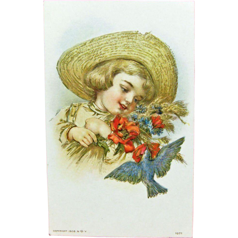 Vintage UNUSED Embossed Greeting Postcard - Child in an Old Straw Hat & Blue Bird