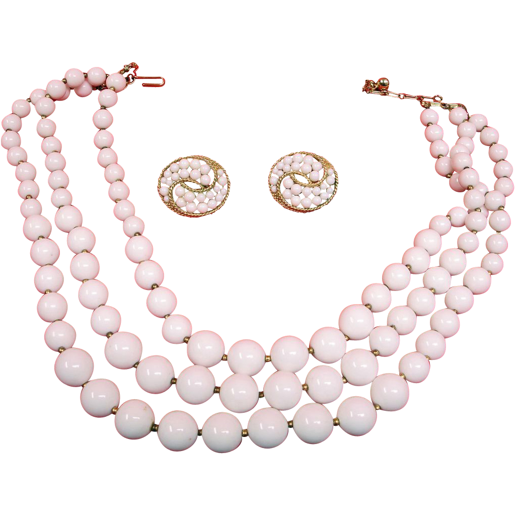 3 Strand White TRIFARI Necklace and Earrings Set - Vintage Crown Trifari Jewelry