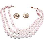 Vintage Crown Trifari Demi Parure Jewelry - 3 Strand White TRIFARI Necklace and Earrings Set
