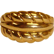 Estate Ring - 14K Wide Dome Band Gold Ring - Made in Italy - 6-3/4