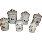 Graniteware Canister Set - 6 Snow On The Mountain Enamelware Cannisters - Vintage Enamelware Graniteware Kitchen Sets