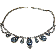 Blue Rhinestone Necklace - Vintage Rhinestone Jewelry