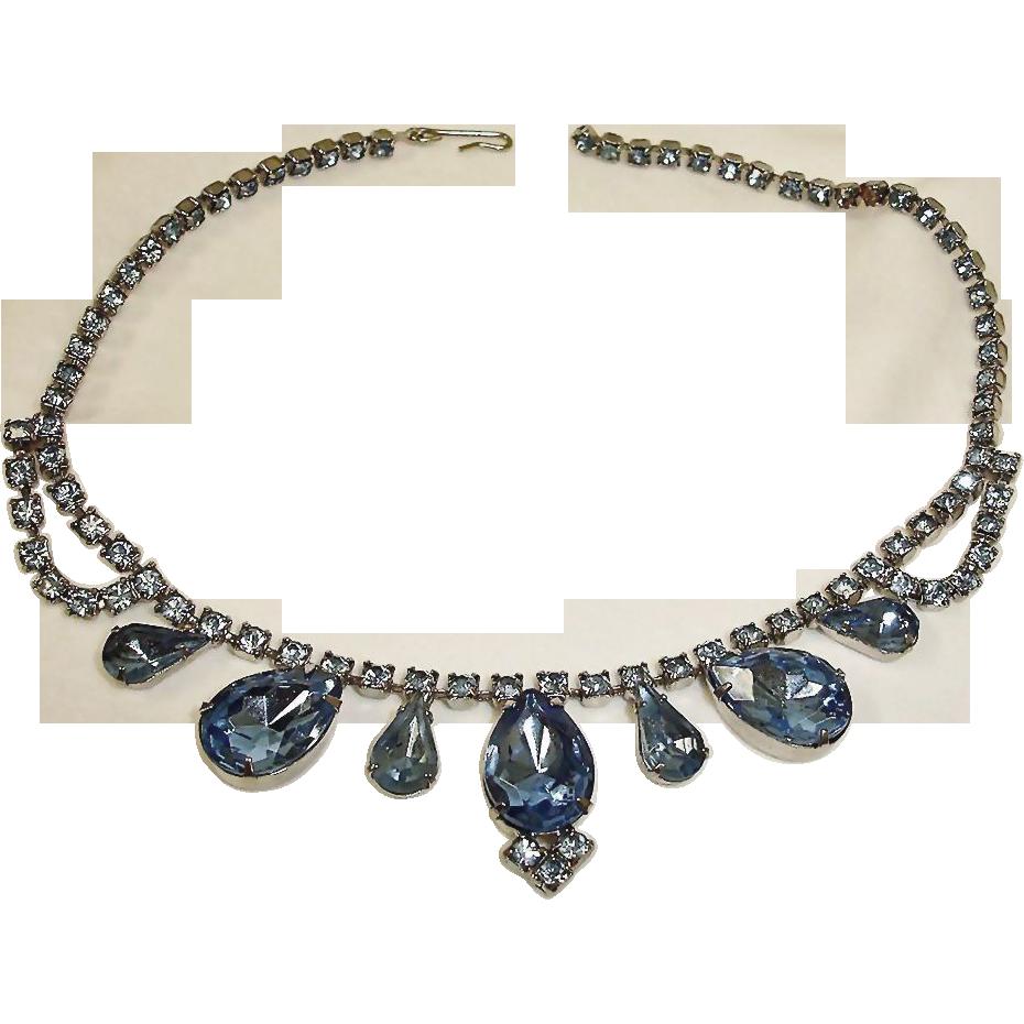 Blue Rhinestone Necklace - Vintage Rhinestone Jewelry
