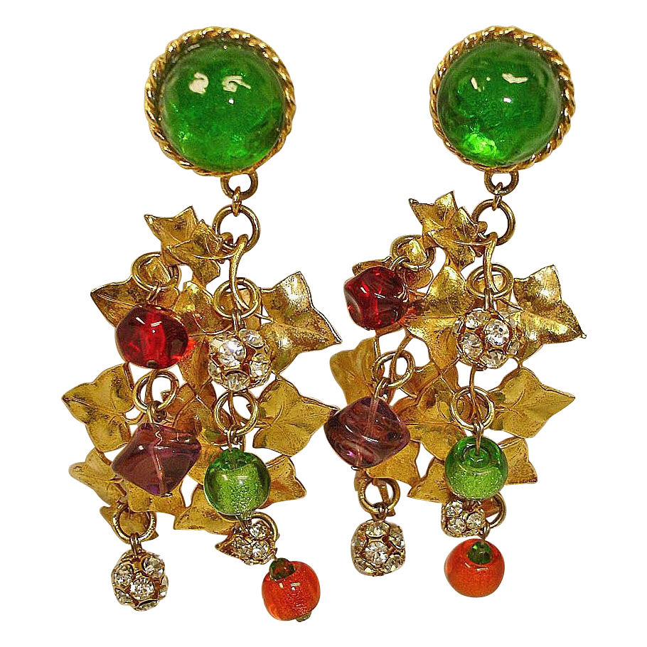 Vintage HUGE Art Glass Earrings - Crystal Rhinestone Dangle Chandelier Earrings