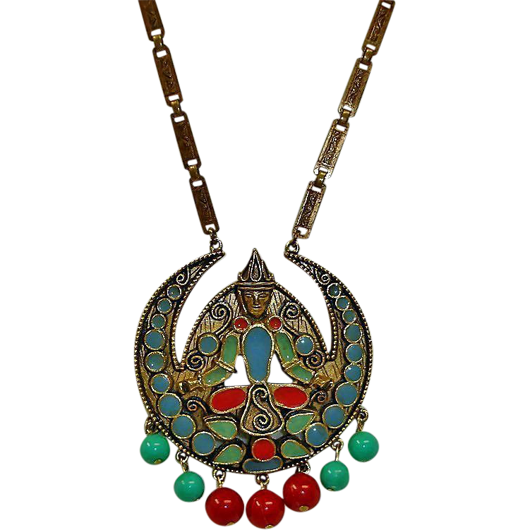 Vintage Florenza Long Etruscan Revival Necklace - Vintage FLORENZA Signed Jewelry