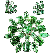 Vintage Rhinestone Brooch and Earrings Demi Parure - Vintage Green Rhinestone Jewelry Sets