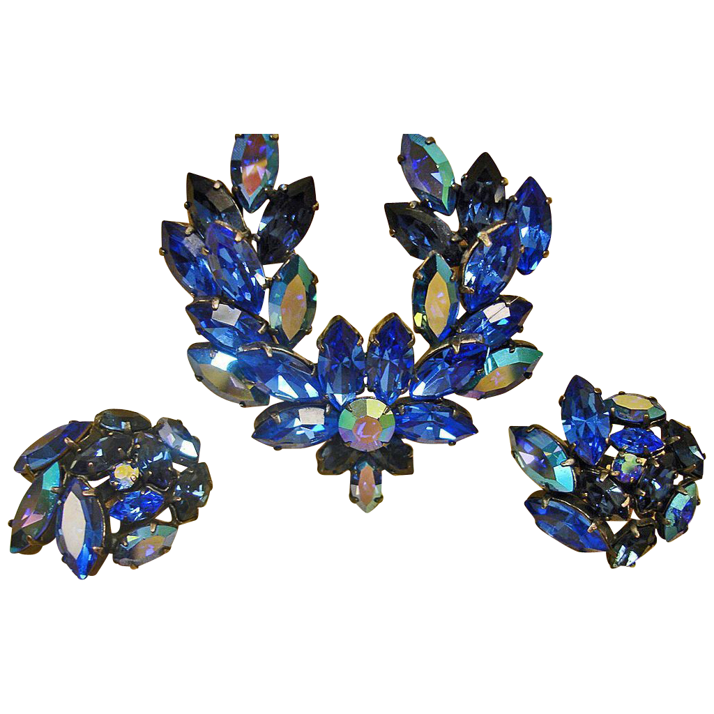 Vintage Blue AUSTRIAN Rhinestone Brooch and Earrings Set - Vintage Rhinestone Demi Parure Jewelry