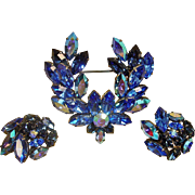 Blue AUSTRIAN Rhinestone Brooch and Earrings Set - Vintage Demi Parure