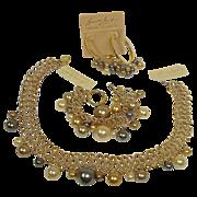 KJL Parure – Couture Collection Necklace Bracelet Earrings Set - Vintage Kenneth Jay Lane Parure Jewelry