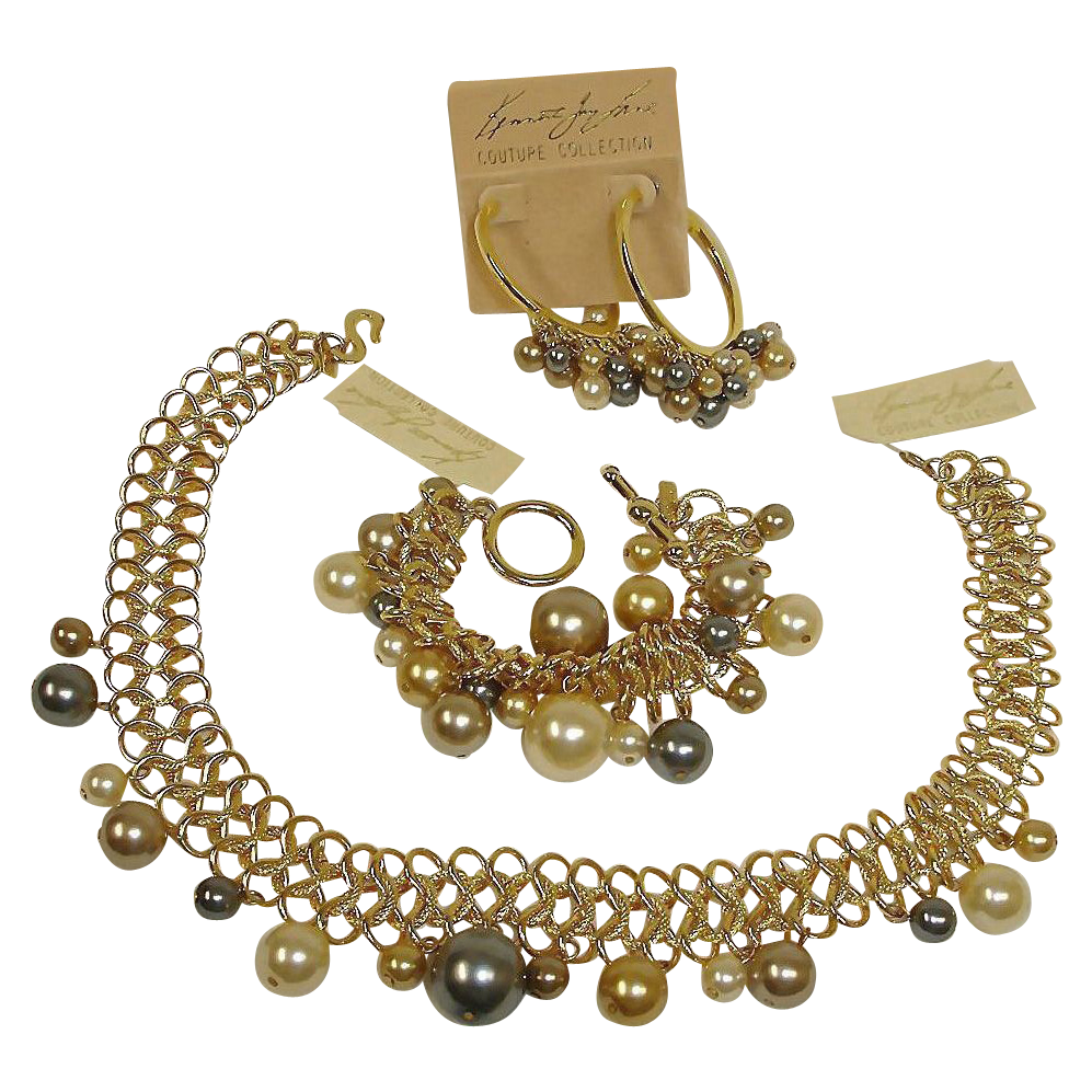 KJL Parure – Couture Collection Necklace Bracelet Earrings Set - Vintage Kenneth Jay Lane Parure Jewelry