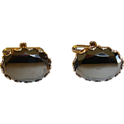 Deep Charcoal Gray - Black HEMATITE Faceted Cufflinks - Retro Cuff Links