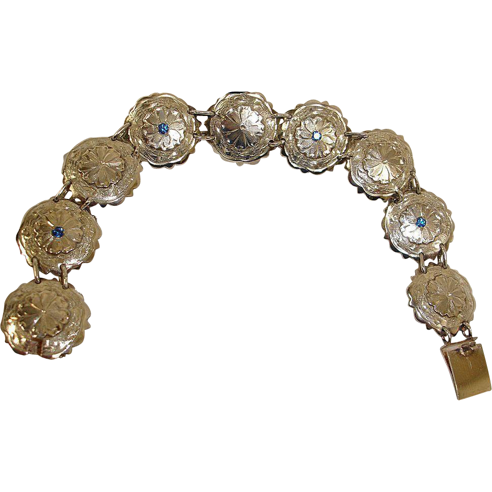 Vintage MEXICO Sterling Silver Fancy Disk and Blue Topaz Bracelet - Vintage Sterling Silver Jewelry