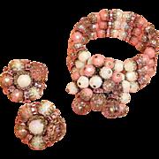HOBE Sparkly Demi Parure Jewelry - Cha Cha BRACELET and EARRINGS Set - Vintage Hobe Jewelry Set