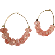 Pink Faceted Bead Pierced Earrings