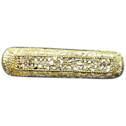 Gold Plated  Bar Pin - Vintage Brooch