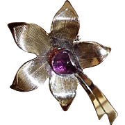 Vintage Silver Tone Brooch Pin with Amethyst Gem Stone