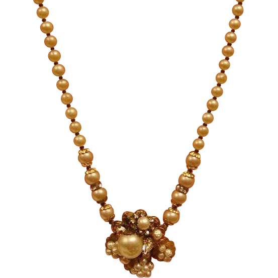 Robert DeMario CLUSTER Glass Baroque Pearl Necklace - Vintage Demario Classic Jewelry