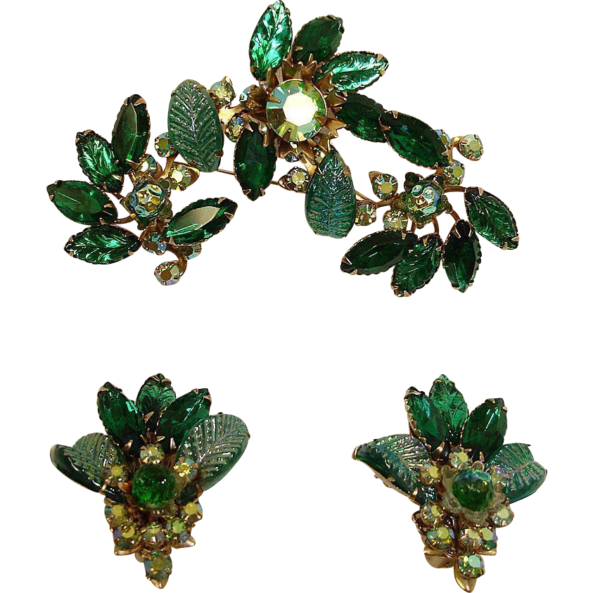 Signed JUDY LEE Demi Parure - GREEN Rhinestone Brooch and Earrings Set – Vintage JUDY LEE Rhinestone Jewelry