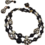 Vintage Black Bead and Clear Rhinestone Necklace Earrings Set Demi Parure