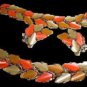 Vintage  BSK Maple Leaf Thermoset Plastic Necklace Bracelet and Earrings Parure - BSK Jewelry Set