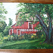 Original Oil Painting Red Barn - Plein Air Painting - Helen Briggs Abernathy Artist