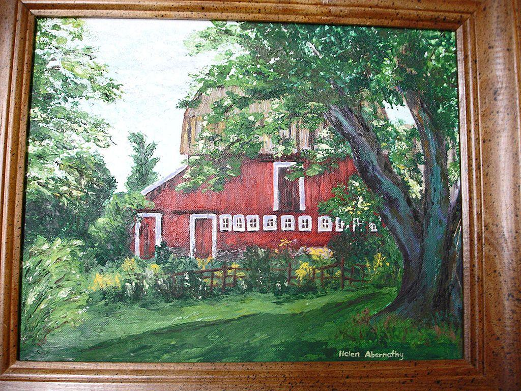 Original Oil Painting Red Barn - Plein Air Painting - Helen Briggs Abernathy Artist