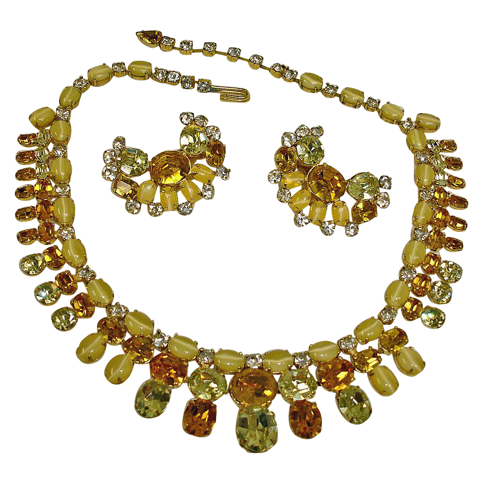 Vintage Rhinestone Necklace and Earrings Set by ROBERT - Vintage Rhinestone Demi Parure Jewelry by Fashioncraft