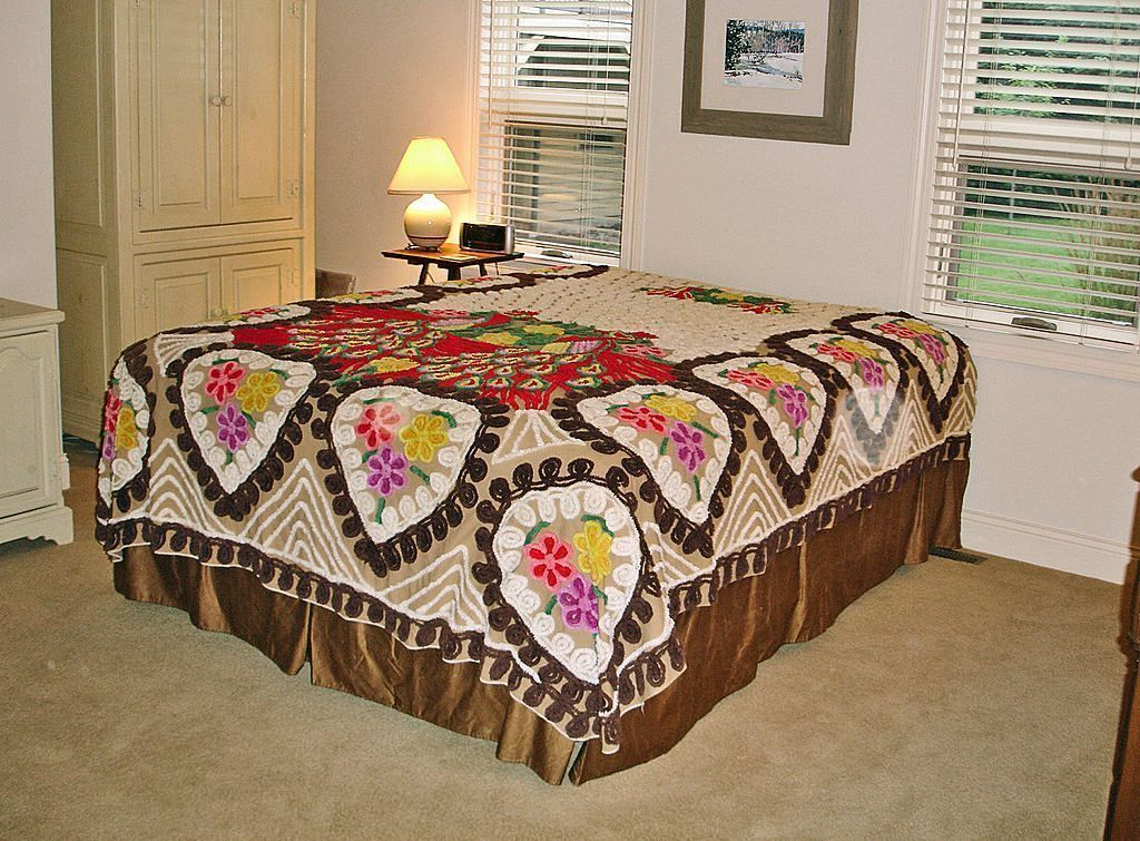 Vintage Peacock Chenille Bed Spread – DOUBLE BED or QUEEN Size - Soft Browns Chenille Bedspread