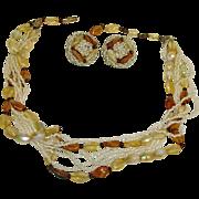 Hobe Multi-Strand Necklace & Earring Set - Vintage Demi Parure HOBE Jewelry