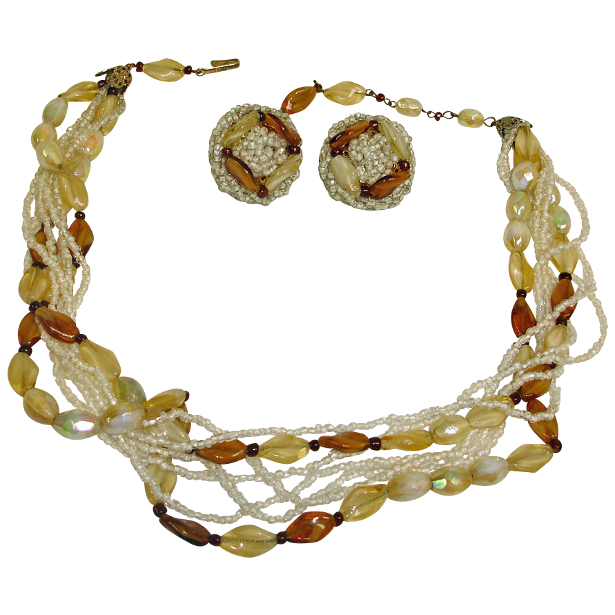 Hobe Multi-Strand Glass Seed Bead and Beaded Necklace & Earring Set - Vintage Demi Parure HOBE Jewelry