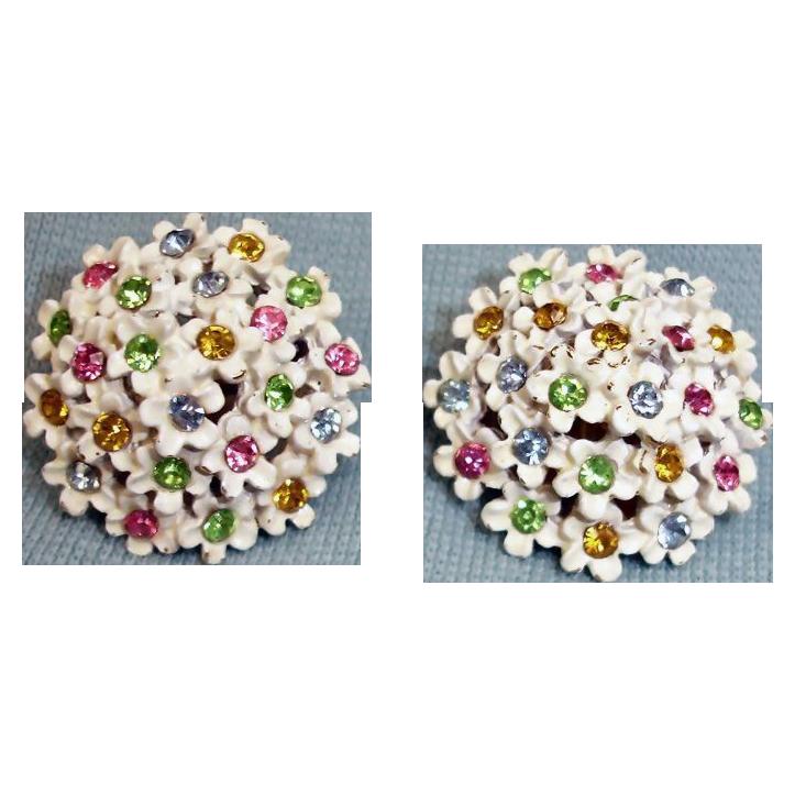 Vintage Clip EARRINGS White Enamel & Multi Color Rhinestones - Signed ART Jewelry