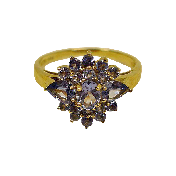 Tanzanite 14K Yellow Gold Ring  - SIZE 8 US - Estate Ring