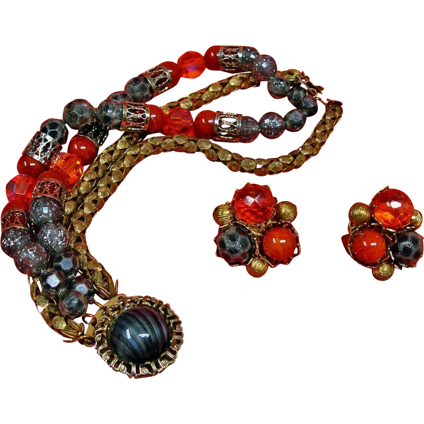 HOBE Bracelet and Earring Set - Vintage Hobe Jewelry Demi Parure