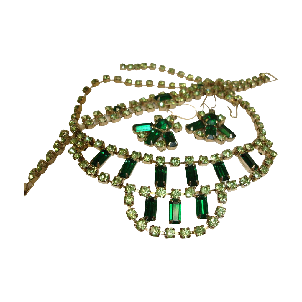 Vintage Green Rhinestone Parure - Necklace Bracelet and Earrings Set