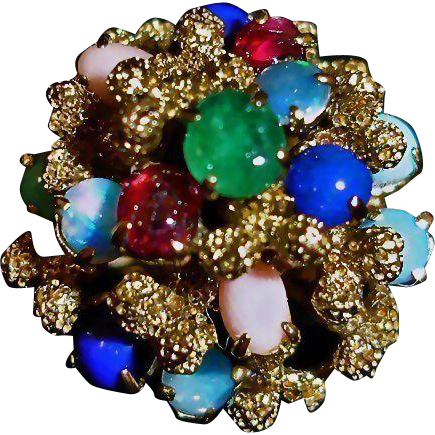 Vintage Estate Ring - 14K Gold Domed Multi Gem Stone Ring - Size 6 3/4 - Princess Ring